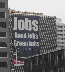 Rally banner on the United Steelworkers Union building