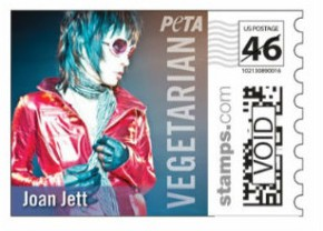 "Joan Jett appears on PETA's 2013 ""Vegetarian Celebrity"" stamps"