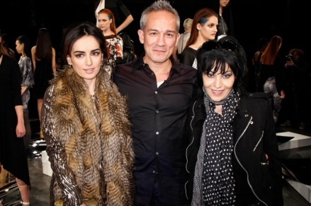 From left, Ana de la Reguera, Cesar Galindo and Joan Jett. Photo by ©ThomasConcordia  Source: http://houston.culturemap.com/news/fashion/02-18-14-hot-houston-models-and-a-rock-legend-add-sizzle-to-cesar-galindo-fashion-show/